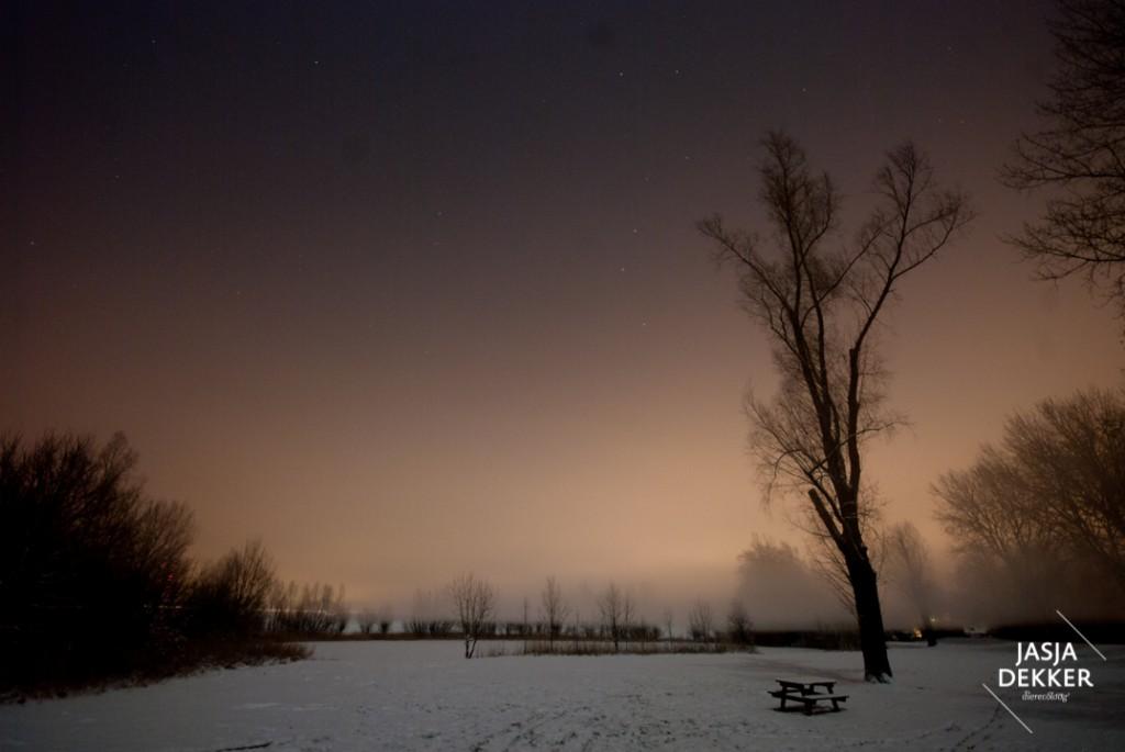 Reflectie van verlichting in Arnhem op de wolken op een winterse nacht. (c) Jasja Dekker